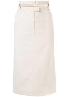 pushBUTTON double-waistband pinstriped midi skirt