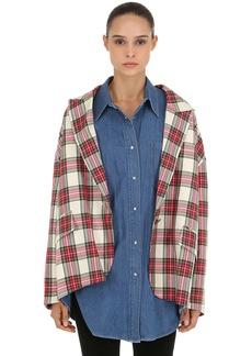 pushBUTTON Layered Plaid Jacket & Denim Shirt