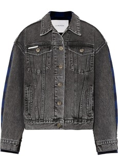 pushBUTTON Paneled Acid-wash Denim And Checked Flannel Jacket