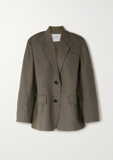 pushBUTTON Paneled Prince Of Wales Checked Wool-blend And Cotton Blazer
