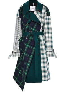 Pushbutton Woman Asymmetric Paneled Checked Cotton-twill Trench Coat Green