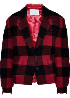 Pushbutton Woman Checked Wool-blend And Faux Leather Jacket Red