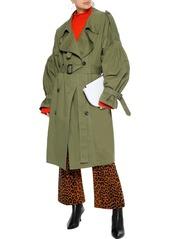 Pushbutton Woman Cotton-gabardine Trench Coat Leaf Green