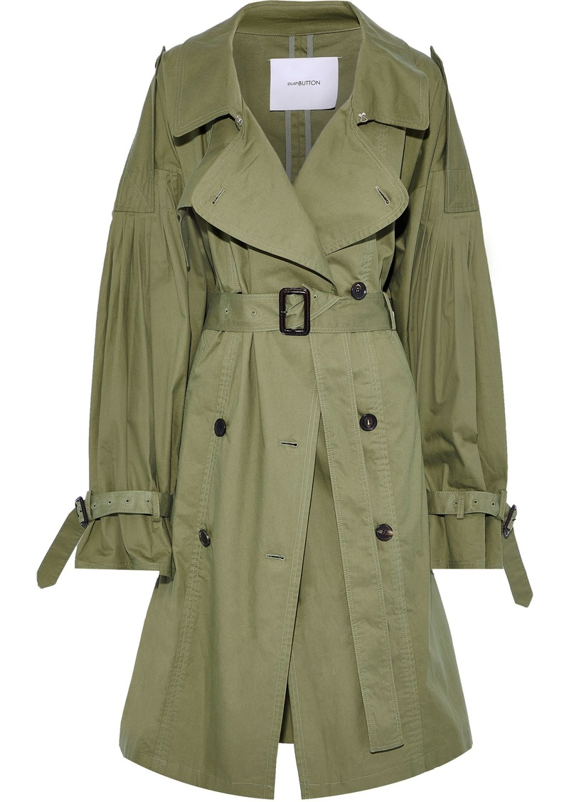 Pushbutton Woman Cotton-gabardine Trench Coat Leaf Green