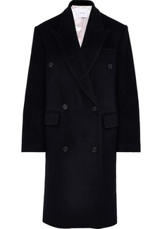 Pushbutton Woman Double-breasted Wool-blend Coat Black
