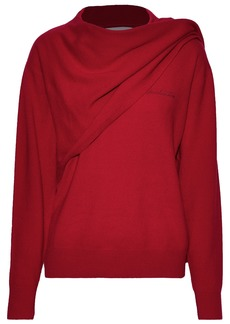 Pushbutton Woman Draped Wool And Cashmere-blend Sweater Red