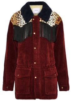 Pushbutton Woman Fringed Faux Fur-paneled Corduroy Jacket Burgundy