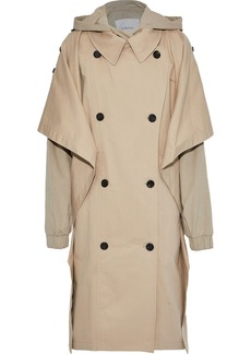Pushbutton Woman Oversized Layered Cotton-blend Gabardine Hooded Trench Coat Beige
