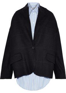 Pushbutton Woman Layered Striped Cotton-poplin And Wool-blend Felt Jacket Black