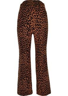 Pushbutton Woman Leopard-print Cotton Bootcut Pants Animal Print
