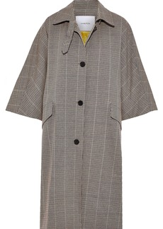 Pushbutton Woman Checked Cotton-blend Coat Light Brown