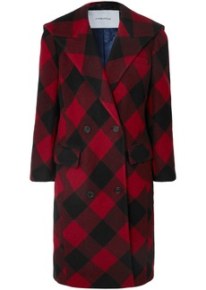 Pushbutton Woman Oversized Checked Double-breasted Wool-blend Coat Crimson