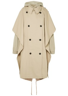 Pushbutton Woman Oversized Layered Cotton-blend Gabardine Hooded Trench Coat Neutral