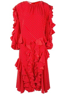 pushBUTTON ruffled polka-dot midi dress