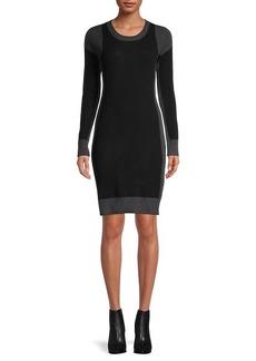 Qi Cashmere Colorblock Cashmere Sweater Dress