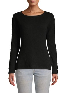Qi Cashmere Faux-Pearl Embellished Cashmere Sweater
