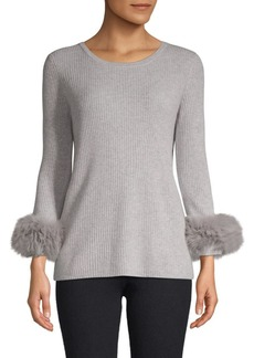 Qi Cashmere Fox Fur-Trimmed Cashmere Top