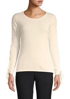 Qi Cashmere Lace-Up Cashmere Top