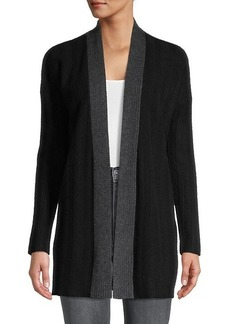 Qi Cashmere Ribbed Cashmere Cardigan