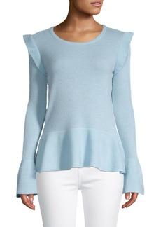 Qi Cashmere Ruffle-Trim Cashmere Peplum Sweater
