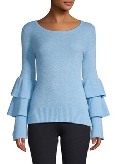 Qi Cashmere Tiered-Sleeve Cashmere Sweater