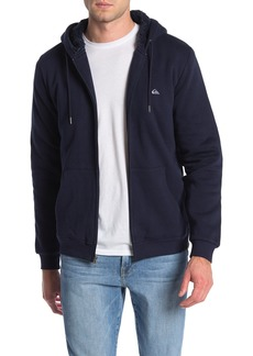 Quiksilver Circle of Grunge Faux Shearling Lined Zip Up Hoodie