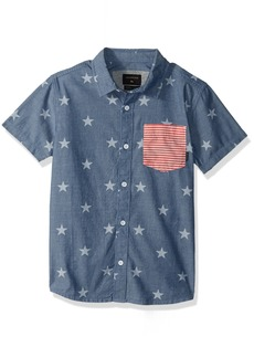 Quiksilver Big Boys' 4TH Short Sleeve Shirt Youth II Used Blue 4TH July