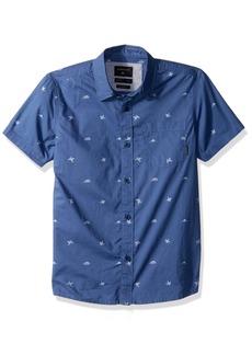Quiksilver Big Short Sleeve Fuji Mini Motif BOY Button UP Shirt Bijou Blue mo