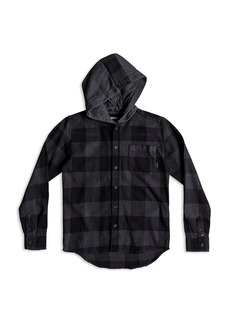 Quiksilver Boys' Buffalo-Plaid Hooded Flannel Shirt - Big Kid
