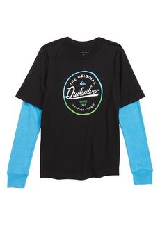 Quiksilver Circle Logo Layered Sleeve T-Shirt (Big Boys)