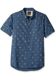 Quiksilver Men's Baja Moment Mini Motif Short Sleeve Shirt Dark Denim Monument