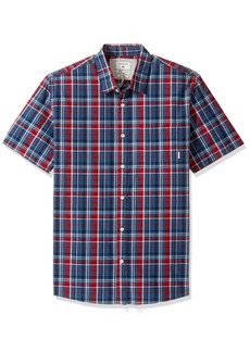 Quiksilver Men's Everyday Check Short Sleeve Button Down Shirt Dark Denim