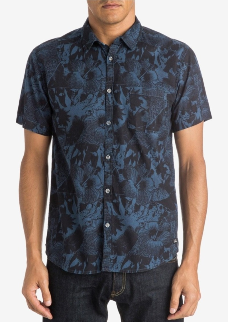 Quiksilver Men's Never Work Floral-Print Short-Sleeve Shirt