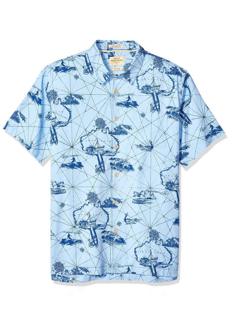Quiksilver Waterman Men's Finding Waves Button Down Shirt Cerulean L