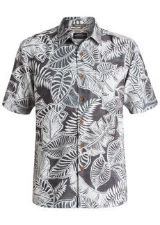 Quiksilver Waterman Men's Leaf-Print Short-Sleeve Hawaiian Shirt