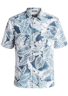 Quiksilver Waterman Men's Leaf-Print Short-Sleeve Hawaiian Shirt