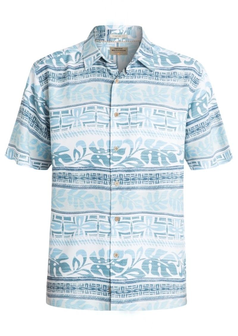 Quiksilver Waterman Men's Pina Floral-Print Stripe Short-Sleeve Shirt