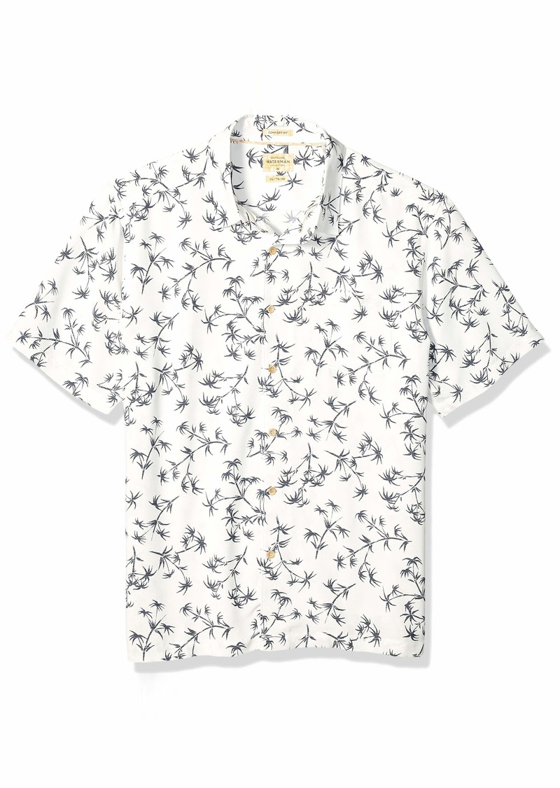 Quiksilver Waterman Men's Skinny Palms Button Down Shirt Snow White M