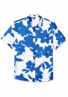 Quiksilver Waterman Men's TECH Floral Bomb Button Down Shirt White L