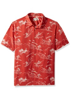 Quiksilver Waterman Men's Town All Day Woven Top Mineral RED M