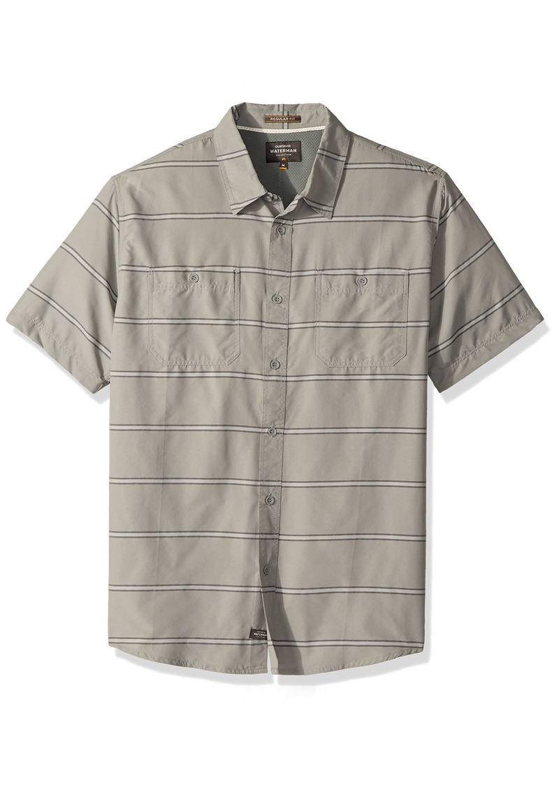 Quiksilver Waterman Men's Wake Stripe UPF 50+ Sun Protection Shirt Grey M