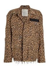 R13 Abu Shredded Leopard Cotton Jacket