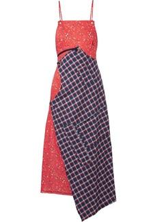 R13 Asymmetric Paneled Cotton-poplin And Flannel Midi Dress
