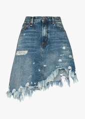 R13 asymmetrical distressed denim mini skirt