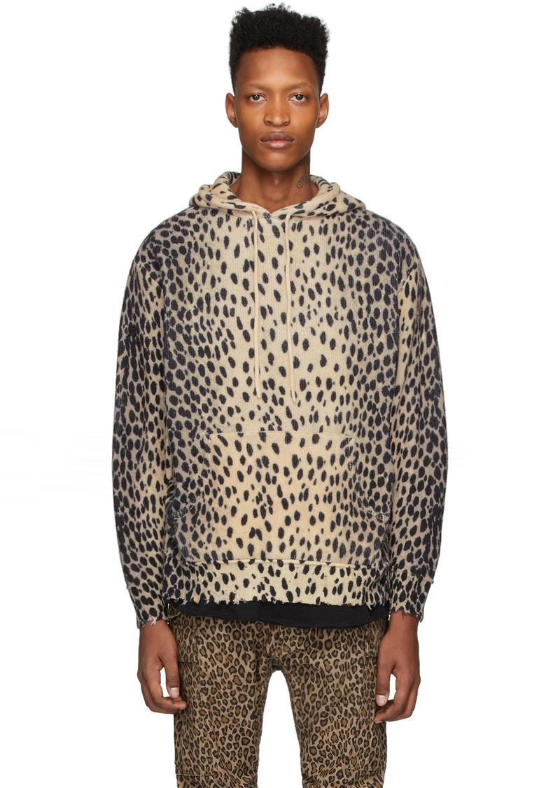 R13 Beige Cashmere Cheetah Hoodie