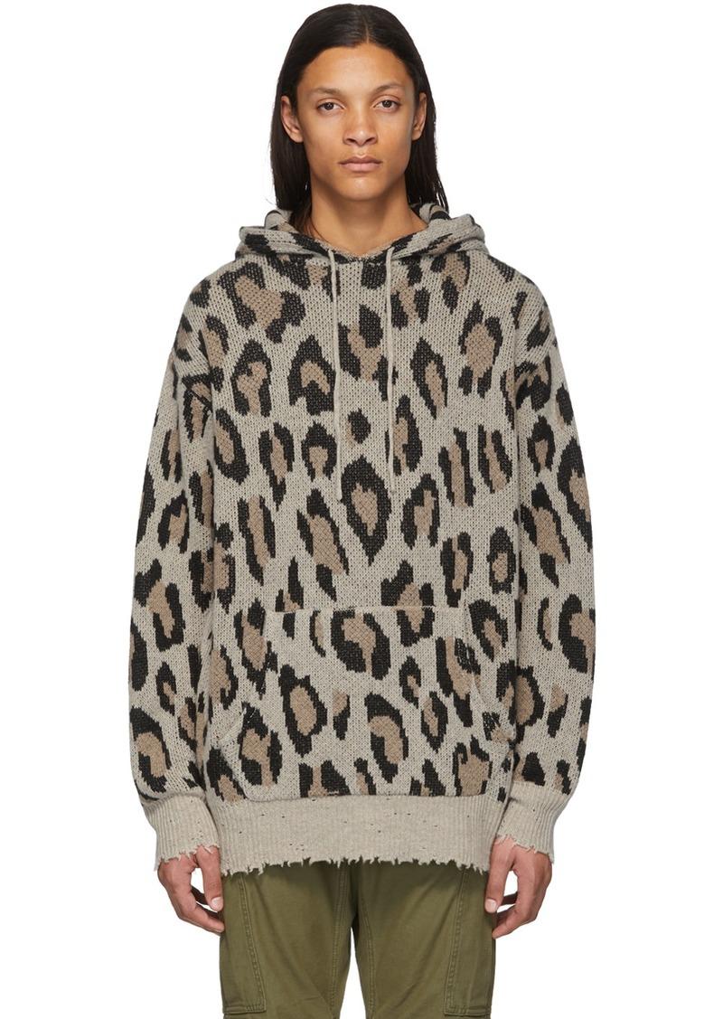 R13 Beige Cashmere Leopard Hoodie