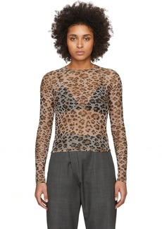 R13 Beige Mesh Leopard Long Sleeve T-Shirt