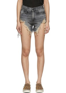 R13 Black Denim Shredded Slouch Shorts