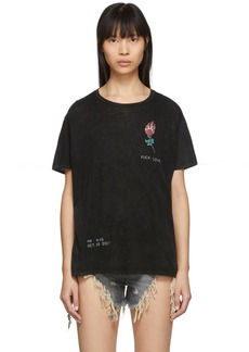 R13 Black Flaming Rose Boy T-Shirt