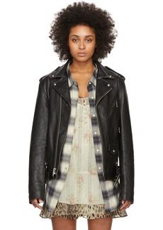 R13 Black Leather Motorcycle Jacket